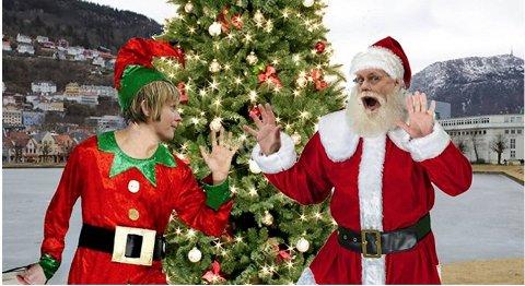 Linda Eide og Gunnstein Akselberg ser på juleord og julesangers betydning i populære «Ut med språket» på Litteraturhuset tirsdag.