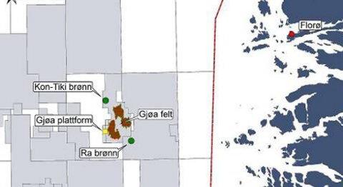 Her ser vi Gjøa-feltet sørvest av Florø. Tyske RWE Dea bora sørvest for Gjøa denne gongen.
