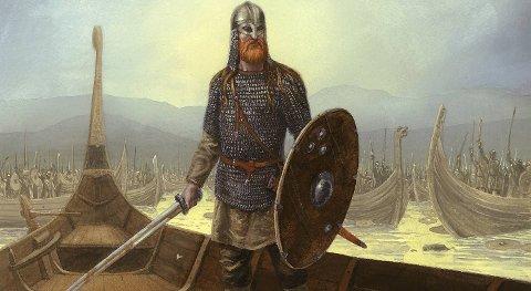 ? Flatøybok gir en fantastisk innsikt i kongers liv, sier professor Torgrim Titlestad. Her er kong Harald Hårfagre skildret i det øyeblikket han skjønner at han har vunnet slaget i Hafrsfjord i 872.