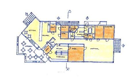 Dette er planløsningen for første etasje i det nye fiskemottaket. I 2. etasje blir det to kontorer og lager.