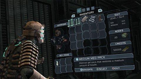 SMARTE MENYAR: Dead Space har eit svært gjennomført menysystem. Helten kan bla i hologram som syner utstyr og kart. I staden for tall og tekst ser ein helse og energinivå på ryggen av helten.