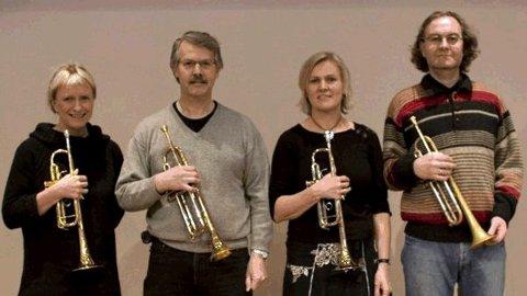 Trompetgruppa i Sogn og Fjordane Symfoniorkester: Ingjerd Hjelmeland, Otto Søvig, Trude Skarvatun og Arvid Anthun.