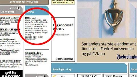Denne annonsen sto på trykk i Fædrelandsvennen.
