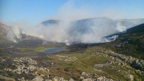 Bildet er tatt av hjelpemannskap frå FIG FLorø idet brannen herja.