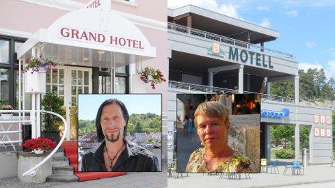 Grand Hotell og Fredriksten Hotell er booket opp av Tons of Rock-gjester, her representert av festivalgeneral Svein Bjørge, mens Svinesund Motell og Thon Hotell er fullbooket av metodister, her representert av prest Hilde Tveter.