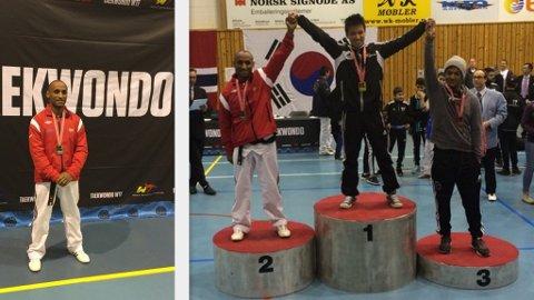 SØLV: Shimeket Wudneh Beyene fra Odda Teakwondo klubb tok lørdag sølv i NM i Mjøndalen.