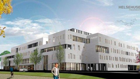 Slik ser det nye helsehuset i Fredrikstad ut og det er i 1.etasje her Østfolds eneste søndagsåpne apotek holder hus.