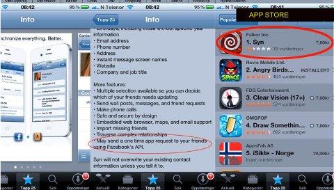 Applikasjonen «Syn» har raskt skutt opp på førsteplass over de mest populære betalingsapplikasjonene på AppStore, og også en av de med mest omsetning, til tross for at applikasjonen har ekstremt dårlige tilbakemeldinger fra brukerne.
