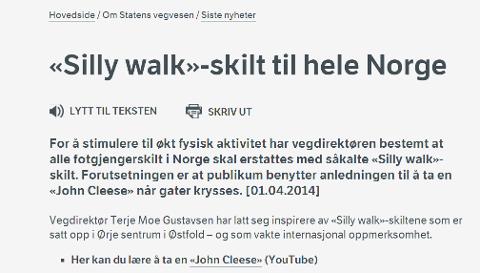 SPØKEFULLE: Veivesenet annonserte i dag på sin hjemmeside at hele Norge får «Silly walk»-skilt.