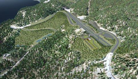Prisen ser ut til å gå opp med 600 millioner kroner for nyveien Bjørum-Skaret. Her ser vi hvordan det kan bli i området sør for Skarettunnelen, som vi ser i øvre del av bildet. Til høyre ser vi veien komme ut av ny tunnel under Sollihøgda. Illustrasjon:  Vegvesenet