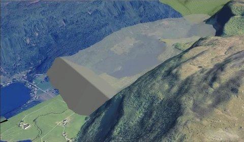 DEPONI I REDALEN: Slik vil Redalen bli sjåande ut med ei demning som blir 100 meter høg og 750 meter brei og fylt opp med 140 millionar kubikkmeter avgangsmasse frå gruva i Engebøfjellet.