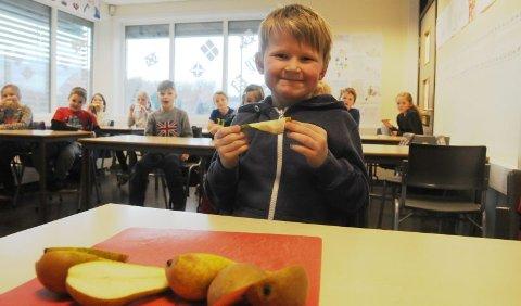 Sin egen fruktteori. Elevene ved Bodøsjøen skole er fornøyd selv om de nå bare får en halv frukt om dagen, kontra en hel tidligere. Kristian har sin egen forklaring på hvorfor det har blitt som det har blitt. - Jeg har hørt at det fordi det er mindre frukt i verden fordi det er vinter, forklarer han.