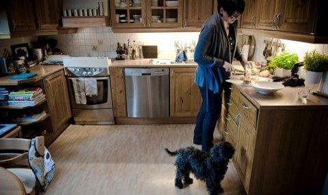 LEKKERBISKEN   Bikkja stiller seg strategisk til der det kan ramle ned en godbit. Andre finner oppskriften på Trines nettside. ALLE FOTO: MARTIN SLOTTEMO LYNGSTAD