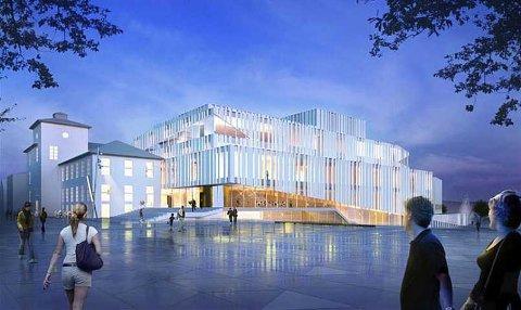 Verken penger eller kommentarer til opera- og kulturhus i statsbudsjettet. Tegning: C.F. Möller
