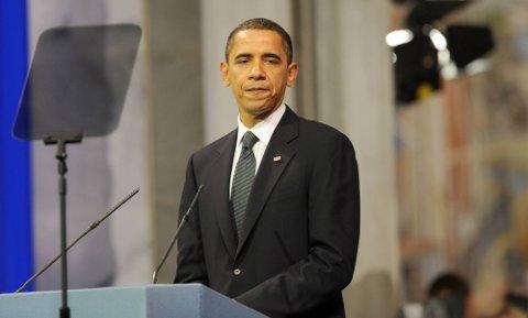 FREDSKRIGER: Barack Obama presenterte seg selv som fredskriger da han takket for fredsprisen. (Pool-Foto: Terje Pedersen, ANB)