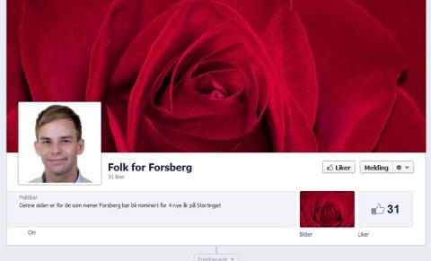 Denne Facebook-siden ble i morgentimene opprettet for Thor Erik Forsberg. Nå slutter Østfold AUF seg helhjertet til kampen. (Skjermdump fra facebook.com)