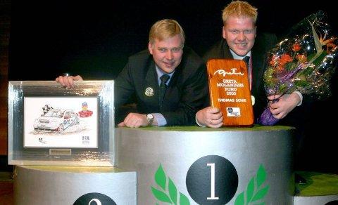 """BLE HEDRET: Harald Sachweh (t.v.) ble kåret til """"årets bilsportutøver"""" på Hotel Arena, mens Thomas Schie fikk med seg 40.000 kroner. FOTO: ARVE KJELBERGSENGEN"""