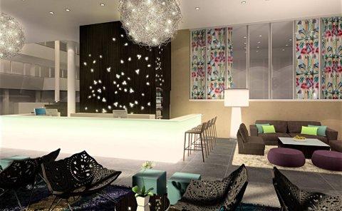 FRISKT: Lobbyen på «Strand Resort». Animasjon