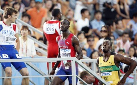 MENNENE Å SLÅ: Klarer Jaysuma Saidy Ndure å utkonkurrere Europas raskeste mann, franske Christoph Lemaitre, og nærme seg Usain Bolt, kan Blystadlia-karen fort bli Årets idrettsutøver også neste år.  Foto: Scanpix