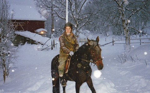 Hesten min Evelyn og meg.