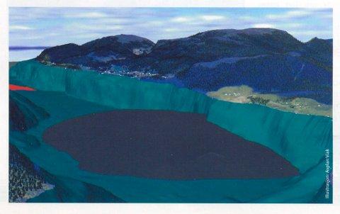 SJØDEPONI: Illustrasjon som viser volumet av sjødeponiet slik det vil sjå ut når driftsperioden er over etter 45- 50 år. Området som er under vatn er grøntona, og deponiet er grått. Området til venstre viser fjordeponiet sitt djupaste område på ca 340 meters djupne, og ein på om lag 300 meters djup ved Hegreneset i Askvoll. Illustrasjon: Asplak Viak.