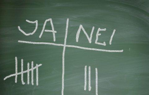 BILDET KOMMER FRA SCANPIX Tavle med valget Ja eller Nei. Skolevalg. Valg. Avstemming. Avstemning. Demokrati i skolen. Demokratiske regler. Elever og medbestemmelsesrett. Bestemme. Avgjørelser. Svamp og kritt. Elevråd. Egne meninger. For eller   mot. Ta standpunkt. Skole. Skolen. Grunnskolen. Barneskolen. Positiv. Positivt. Negativ. Negativt.FOTO: SCANPIX