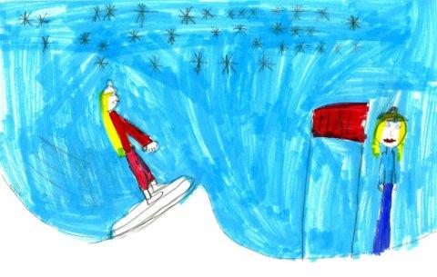 på ski: Åtte år gamle Elena Amlie Valdres som går i SFO på Vindingstad i Gjøvik har tegnet denne flotte tegningen. Tusen takk for tegningen, Elena!