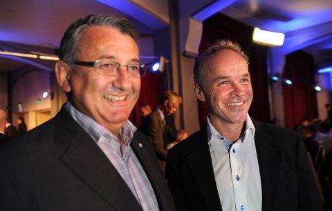 Jan Tore Sanner og Per Kristian Foss har grunn til å smile på Høyres valgvake i Oslo.