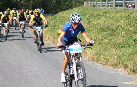 RASKEST: Tine Thomasli fra Namdal sykkelklubb var raskest av kvinnene. Hun er opprinnelig fra Grane, og hun er leder i Namdal SK.