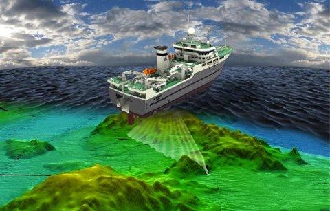 HAR FUNNET VULKANER: Her er en illustrasjon av hvordan forskerne har kartlagt havbunnen og funnet vulkaner.