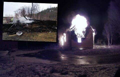 Huset i Bjørnelvdalen var overtent da meldingen kom til brannvesenet, og brente ned i løpet av natta.