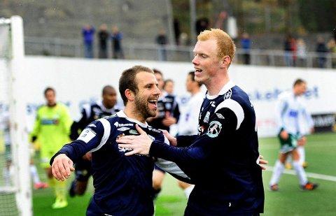 Pål Erik Ulvestad (til høyre) har signert en treårsavtale med KBK. Her sammen med Jan Banan Tømmernes.
