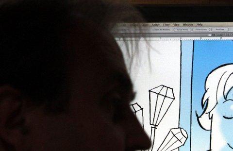 DIGITALT | Egil Nyhus skanner inn tegningen han har gjort for hånd og fargelegger i Photoshop på datamaskinen. Her får Erna Solberg blåskjæret. Før 2000 ble alt laget fysisk på tegnebordet.