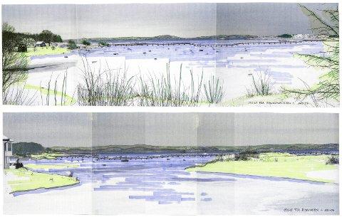 Perspektivskisser: Astrid D. Skallebergs perspektivskisser fra 2006 viser en mulighetsplan for gangbro mellom Agnes og Risøya. ? En gangbro vil kunne binde sammen Agnes og Risøya på en spektakulær måte. Se bare hva man har fått til i Drammen, sier Lars Solheim.