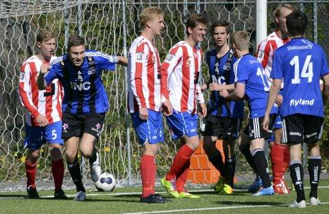 KNIPENT TAP: Florø tapte 3-2 borte mot Fana i mai. Her har Runar Hove nettopp redusert til 3-1, men trass ein sterk sluttspurt klarte ikkje Florø å berge poeng mot bergensarane.