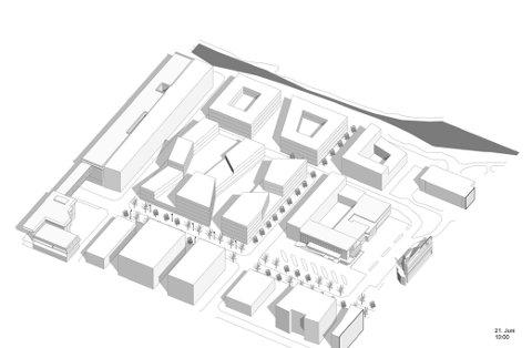 Eitt av forslaga til utbygging på tomta til Firda Billag. Handelshuset til venstre i skissa.