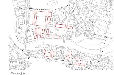 Dei raude felta viser tomter som kan fortettast. Den svarte, stipla lina viser kva som blir definert som sentrum.