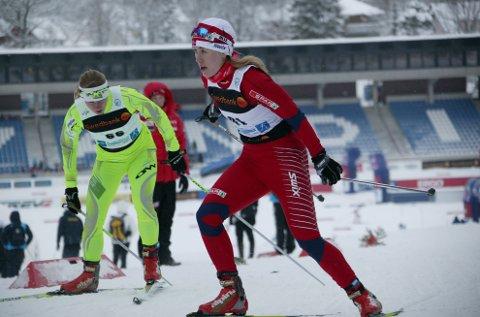 GULLJENTA: Nannestad-jenta Ragnhild Haga tok gull i junior-VM onsdag.  FOTO: Kjell-Erik Kristiansen