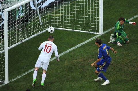 Wayne Rooney fikk en lett jobb med å score Englands mål, som ble kampens eneste. Men Ukraina ble snytt for utlikningen.