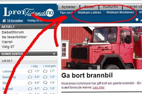 Her finner du Lofot-Tidendes webkamera når du åpner www.lofot-tidende.no
