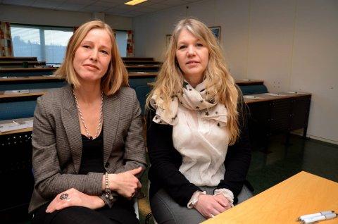 Bekymret: Styreleder Gunhild Vehusheia (t.v.) og daglig leder Hilde Rokkan ved Kvinneuniversitetet i Norden er både bekymret og oppgitt over at ikke finansieringen av institusjonen er på plass. Foto: Klaus Solbakken