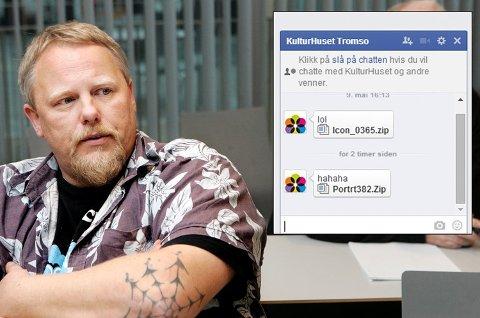 Teknisk sjef på Kulturhuset i Tromsø John Bekkelund (bildet) forteller at han ikke var klar over de var infisert av det nye Facebook-viruset (innfelt). Heldigvis er det ikke så vanskelig å bli kvitt viruset.