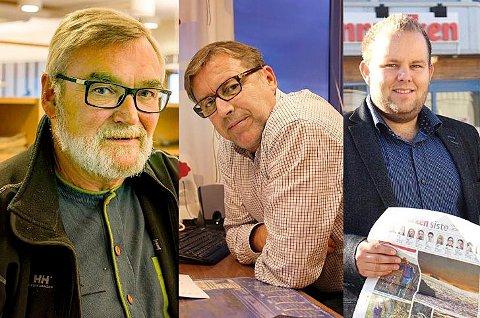 MANGE LEDERSKIFTER: De ansatte i Finnmarken og Finnmark Dagblad har opplevd mange lederskifter på kort tid, både blant redaktører og daglige ledere. Nå styrer Svein Jørstad (t.v.) det redaksjonelle i de to avisene. Han tok over som konstituert redaktør etter Sverre Joakimsen (midten) i oktober, som igjen tok over for Gard Michalsen (t.h.) i sommer