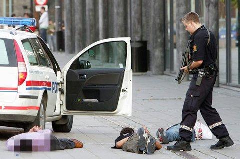 PÅGRIPELSE: Politiet foretok flere pågripelser etter masseslagsmålet på Nebbursvollen. FOTO: ROAR GRØNSTAD