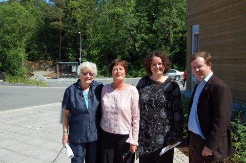 Eldregeneral Ruth Ryste, stortingsrepresentant Gunn Olsen, statsråd Sylvia Brustad og leder i Porsgrunn Ap, Robin Kåss.