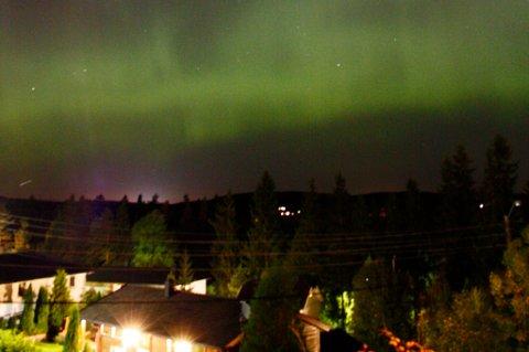 FARGET HIMMELEN GRØNN: Natt til tirsdag var det nordlys på himmelen over  Auli. FOTO: LENE DALEN SKAARA