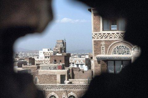 BORTFØRT: På åpen gate i Jemens hovedstad Sanaa ble 34-åringen fra Romerike bortført. Kidnappingsofferet ringte selv hjem og fortalte om kidnappingen søndag morgen. Dette bildet er fra gamlebyen i hovedstaden.  Foto: Scanpix