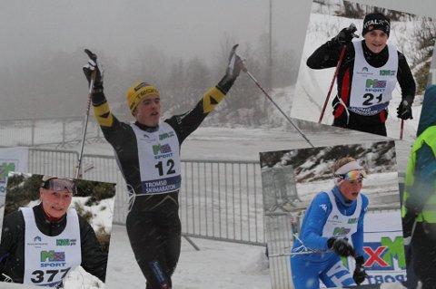 VANT: Snorri Einarsson vant Tromsø skimaraton. Innfelt: To av de andre deltagerne samt juniorvinner Silje Theodorsen.