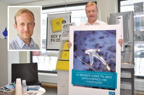 Det er ingen tvil om at DNB-konsernet, her representert ved Ivar Bjerregård som er sjef for bankens filialer i Midtfylket, trengte en opptur. Det skriver ansvarlig redaktør Øystein Sørumshagen (innfelt) i Bygdeposten.