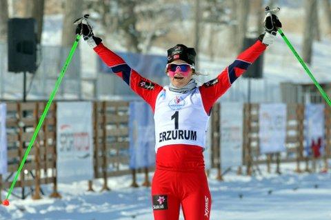 Martine Ek Hagen kunne juble i det hun passerte målstreken som nummer en.